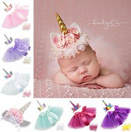 $enCountryForm.capitalKeyWord Canada - 3PCS set Newborn Baby Girls Unicorn Romper Jumpsuit Ruffle Tutu Dress Headband Shoes Infant Baby 1st Birthday Clothing Outfit Set