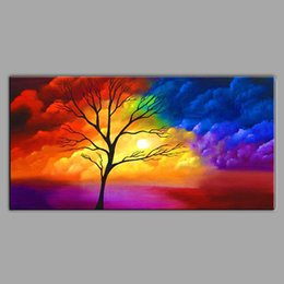 $enCountryForm.capitalKeyWord Canada - Handmade Modern colour Clouds and Trees Scenery Oil Painting Canvas Art Wall Picture For Bed Room Home Decoration cx4