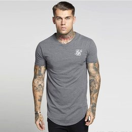 Men white silk shirts online shopping - Men ss Sik Silk Kanye West Sik Silk Men Casual Hip Hop Irregular Curved Hem Short Sleeved T shirts Black White gray