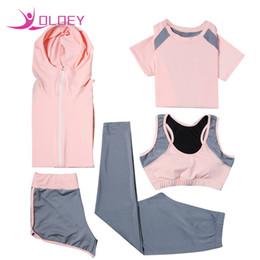 $enCountryForm.capitalKeyWord Canada - Hot Sale Yoga Set Jacket Tights Pants Short Yoga Shirt Sports Bras 5 Pieces Running Fitness Gym Clothing Outdoor Sport Clothes