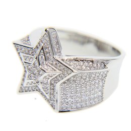 China top quality #9 10 11 full micro pave cz wedding engagement hip hop bling star shape cool street boy bling iced out cz ring Y1890706 cheap top engagement ring settings suppliers