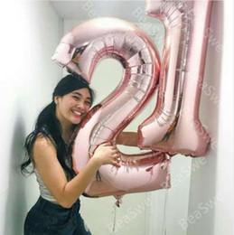 2pcs 40inch métallique feuille numéro chiffre ballons 21 ans anniversaire fête décor hélium gonflable globos mince numéro balle cadeau en Solde