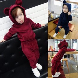 $enCountryForm.capitalKeyWord NZ - Fashion Baby Girls Boys Clothes New Warm Autumn Winter Soild Bear Caps Hoodies+Pants 2PCS Pajamas Sport Suit Children Clothing