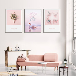 Nordic Style Paintings Pink Big Wall Arts for Salle Anti-moisture and Anti-fading for Home Decoration in 23 patterns on Sale