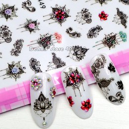 Wholesale 1 Sheet Beautiful Mystical Lotus Flowers Lavender Floret Pattern Self adhesive Nail Art Stickers Decorations F4XX Sealed Packing