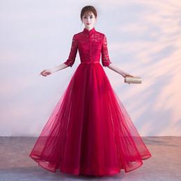 Ingrosso DJ023 Sexy 3/4 maniche lunghe abito da sera copertura posteriore Sweep treno abito da sposa partito Prom Dress abiti da sposa rossi
