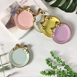 Wholesale Promotion CM Coloful Golden Bowknot Resin Tray Table Decoration Dish Cake Plate Dessert Coffee Cup Holder Party Wedding Ornament Gift