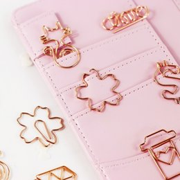 Wholesale New Rose Red Rose Gold Paper Clips Diamond Cups Camera Cat Bookmark Planner Tools Scrapbooking Tools Metal Binder Paperclip