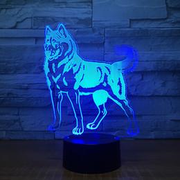 Discount lighted dog ball - Shepherd Dog 3D Illusion light Lamp 3D Optical Lamp AA Battery USB Powered 7 RGB Light DC 5V Wholesale Free Shipping