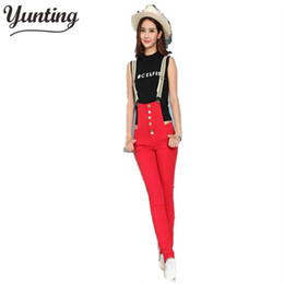 red denim overalls Canada - New Stylish Women's Overalls Denim Jumpsuit Jeans Suspender Trousers Jumpsuits Red