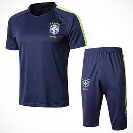 2018-19 World Cup National Brazil Short Sleeve Training Suit Custom Blue NEYMAR  JR JESUS COUTINHO Brasil Soccer Football Shirt Tracksuit Kit d35261609