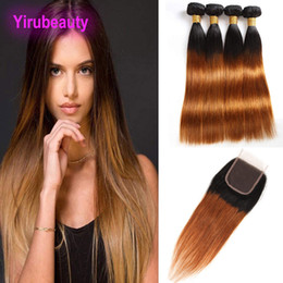 Discount wefts extensions - Peruvian 3 Bundles With 4X4 Lace Closure 4pieces lot 1B 30# Double Color Straight Virgin Hair Extensions Wefts With Clos