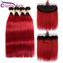 straight dark red hair 2019 - Dark Roots Red Ombre Bundles With Closure Straight Human Hair Peruvian Virgin Full Lace Frontals And Extensions Colored