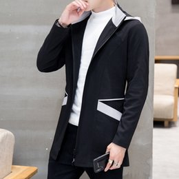 Wholesale New Arrival Long Sleeve Zipper Men hooded jacket coat Autumn Mens Trench Coat Splicing pocket design windbreaker Plus Size XL