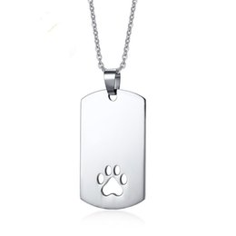 wholesale dog lover gifts NZ - 316L Stainless Steel Dog Necklace Dog Paw Pendant Paw Print Jewelry Paw and Footprint Pendant Gift for Dog Lover Gift Free shipping