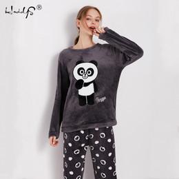 Cartoon Panda and Letter Pajama Sets Sleepwear Women Winter Flannel Plus  Size Full Length Warm Party Pyjamas Sleepwear For Women 6c38f39a8