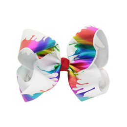 Tie Dye Hair UK - 8' Paint Drips Jojo Hair Bows Large Grosgrain Mermaid Bows Tie Dye hairbow Dancing Bow Unicorn Cheer Bows for Children Holographic