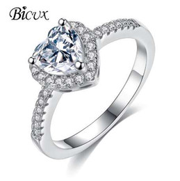 simple elegant engagement rings NZ - BICUX Fashion Elegant Korean Heart Silver Crystal Ring for Women Gilr Wedding Anniversary Simple Shining Zircon Ring Jewelry