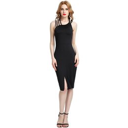 2018 New Fashion Sexy Women Cross Back Sleeveless Bodycon Dress O Neck  Hollow Out Slit Hem Party Club Slim Midi Dress Black 4e052727137b