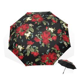 Green Umbrellas Canada - Three Folding Rose Design Manual UV Protection Umbrella Sunny Umbrellas For Women Parasol Rain Gear
