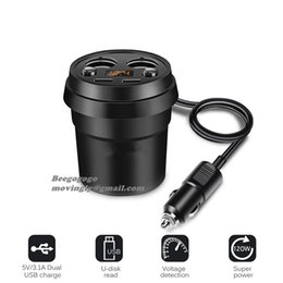$enCountryForm.capitalKeyWord NZ - 3.1A Dual USB Car Charger Cup Charging Voltage Current Display Phone Charger With 2 Cigarette Lighter Socket For GPS DVR Charge