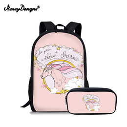 kid backpacks pink purple Canada - 3d Unicorn School bag Set Kids Backpack SchoolBag For Girls Boys Large Schoolbag Portfolio Galaxy Pink Kid Satchel Book Racksack