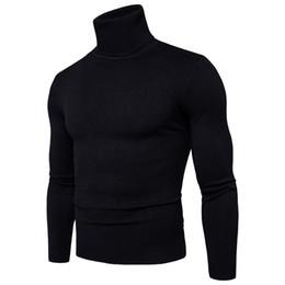 Venta al por mayor de Sweater Pullover Hombres 2018 Marca masculina Casual Slim Sweaters Hombres High Quality Solid Color cobertura Turtleneck Men's Sweater