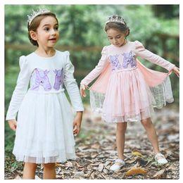 c2be16e8e9ba Baby girls unicorn wings dress children embroidery princess dresses 2018  autumn Boutique kids perform Dress Clothing MMA923