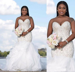 Chinese  Sweetheart Plus Size Mermaid African Wedding Dresses Cascading Ruffles Beading Crystals Tulle Bridal Dress Wedding Gowns Vestidos de novia manufacturers