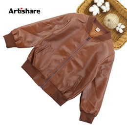$enCountryForm.capitalKeyWord NZ - Pu Leather Jacket For Boys Long Sleeve Jacket Boys Autumn Spring Kids Outerwear Teen Clothing For 6 8 10 12 14