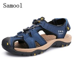 Sale Leather Sandals Canada - Hot Sale Fashion Summer Leisure Beach Men Shoes High Quality genuine Leather Handmade Sandals The Big Yards Men's Sandals Size