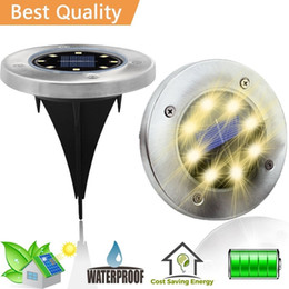 Discount ground pathway lights - Solar Powered Ground Light Waterproof Garden Pathway Deck Lights With 8 LEDs Solar Lamp for Home Yard Driveway Lawn Road