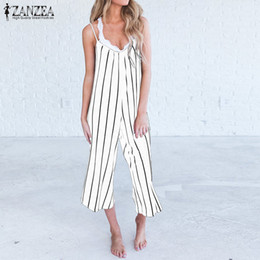 64c921c7830a 2018 Summer ZANZEA Women Sexy Strappy Sleeveless Striped Jumpsuits Loose Wide  Leg Pants Rompers Casual Work Party Overalls S-5XL