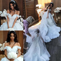 Chinese  Gorgeous Crystals Floral Ball Gown Wedding Dresses 2019 Empire Waist Beads Appliques Bridal Dresses Chapel Train Wedding Gowns For Brides manufacturers
