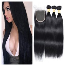 $enCountryForm.capitalKeyWord Australia - Brazilian Human Hair Bundles with Closure 100% Virgin Hair 3 Bundles with Lace Closure Jet Black 1# Color Hair Extensions