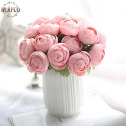 China 1Bunch 7 Heads Artificial Flower Fake Round Rose Bouquet For Wedding Home Party New Year Decorative Candy Color cheap wedding candy bouquets suppliers