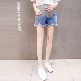 $enCountryForm.capitalKeyWord Australia - Shorts Summer Fashion Thin Denim Maternity Shorts Elastic Waist Belly Short Jeans Clothes for Pregnant Women Pregnancy Bottoms