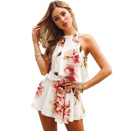 97aa0114f9 Ladies Floral Print Chiffon Playsuit Women Summer Sexy Off Shoulder Halter  Sleeveless Boho Rompers Jumpsuit Beach Party Overalls
