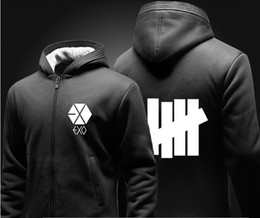 Exo fashion online shopping - Mens Thick Warm Hooded Sweatshirt Jacket Coat Women Zipper Cardicon Jacket Hoodie EXO Bars Print Hooded Sweaters Lovers Casual Coat