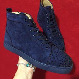 Vente en gros Mode casual hommes chaussures femmes rouge fond sneakers suede appartements top qualité hommes loisirs formateur bleu foncé en cuir véritable chaussures