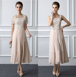 China Elegant Mother Of The Bride Dresses Tea Length Lace Formal Gowns With Jacket Square Neck Elegant Two Pieces Wedding Mothers Groom Dress supplier jacket tea length lace wedding dresses suppliers