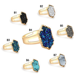 Discount agate stone band rings - Hot agate druzy Designer Rings women s Geometric Faux natural stone Silver Gold Plated adjustable Rings For female Fashi