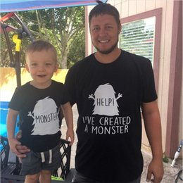 927997ae Father and Son Daughter Matching Clothes Family HELP I'VE CRATED A MONSTER  Funny Letter Printed T Shirts LOVE Daddys Girls Tees
