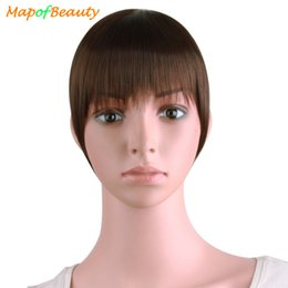 "Discount flat hair clips - MapofBeauty Natural Blunt Bangs Clip-In Dark Light Brown Black Synthetic False Hair Fringe Pure Colors 6"" Flat Bang"
