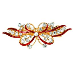 Discount plastic butterfly hair clips - Red Butterfly Plastic Rhinestone French Hair Clip Barrette for Woman