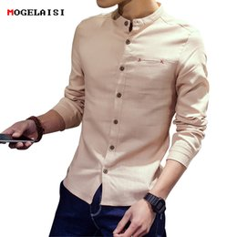 20ad46f7aee Men Shirts Linen Stand Collar Cotton Linen Long For Man Clothing Flax Solid  Men s Shirt Casual Single Breasted Slim Size M-3XL
