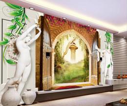 $enCountryForm.capitalKeyWord NZ - customize luxury wallpaper HD Roman column sculpture rose photo wall papers home decor living room