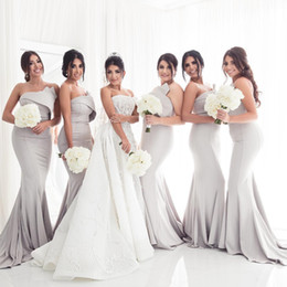 mermaid wedding dresses for maternity 2019 - Sexy Strapless Mermaid Bridesmaids Dresses For Wedding Formal Party Gowns 2018 Pleats Long Maid of Honor Dress Maternity