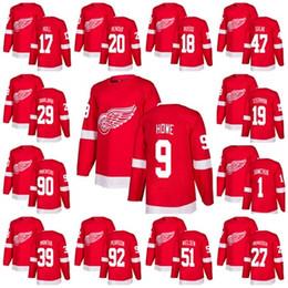 380200545 2018 Stitched Detroit Red Wings Jersey Mens Gordie Howe 19 Steve Yzerman 20  Dan Renouf 47 Libor Sulak Robbie Russo Red Hockey Jerseys