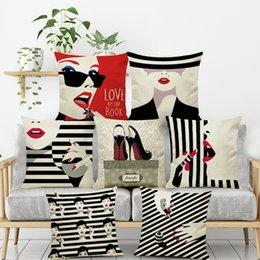 lipstick for black women NZ - Black and white stripes fashion women lipstick Cushion Cover pillow case decoration for home seat chair sofa friend girl gift